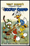 The Hockey Champ Donald Duck Movies Poster Canvas Print Fridge Magnet 6x8 Large