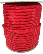Anchor Rope Dock Line 5/8 X 250and039 Double Braided 100 Nylon Red Made In Usa