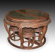 Very Rare Chinese Fine Pair Huanghuali Demilune Tables And Four Stools Hubei China