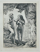 Adam And Eve By Rembrandt Restrike Etching By Amand Durand 6x4 1/2