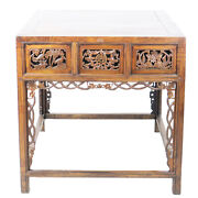 Rare Ornately Carved Antique Chinese Walnut 6 Drawer Table 35 X 45 X 35 Tall