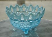Northwood Shell And Wild Rose Blue Opalescent Footed Nut Dish