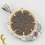 Tibet Coin In 2 Tone Silver Bezel With Tourmaline Pendant