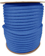 Anchor Rope Dock Line 1/2 X 300and039 Double Braided 100 Nylon Royal Made In Usa