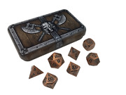 Dwarven Chest With Antique Brass Color With Black Numbers Metal Dice 7 Die Set