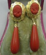 Victorian Rare Coral Bomb Drop 18ct Carved Cameo Huge Earrings