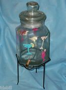 Large Glass Liquor Fruit Infusion Jar With Brass Spigot Valve And Iron Stand