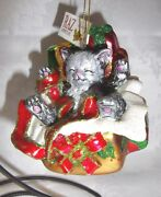 Set Of 6 Raz Imports 4 Cat In Presents Hand-decorated Glass Christmas Ornaments