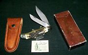 Schrade 227uh Knife 1970's Folding Bowie 81590 W/original Packaging And Paperwork
