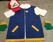 Childs Ash Ketchum Pokemon Trainer Costume - Made In Usa Seller - Cosplay 3 Pc
