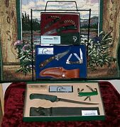 Schrade Ducks Unlimited Knife Display 3 Complete Sets W/sheaths 1980and039s Wire Rack
