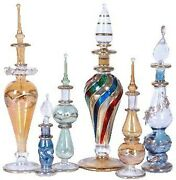 6 Pc Mix Lot Of Egyptian Mouth Pyrex Glass Perfume Bottles