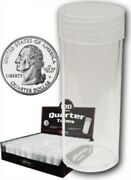 Lot Of 50 Bcw Round Clear Plastic Quarter Coin Tubes W/ Screw-on Cap