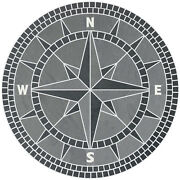 48 Handcrafted Slate Tile Classic Compass Rose Mosaic Medallion Black And Gray