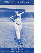 1952 Boston Red Sox-tigers Program Ted Williams Day Splinter Homers To Win