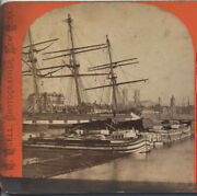 Stereoview Tall Ships Harbor Of Montreal From Canal Basin. Canada.