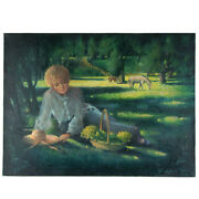 Untitled Woman Resting Under Tree By Anthony Sidoni 1990 Signed Oil On Canvas