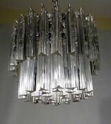 Murano Camer 52 Triedi Prism 4 Ring 6 Light Flush Mount Chandelier Italy 60and039s