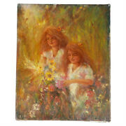 Sisters...picking Flowers By Anthony Sidoni 1997 Signed Oil On Canvas 10x8