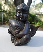 Vintage Or Antique Fine Chinese Boy And Fish Carving Of Precious Wood