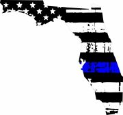 Thin Blue Line Decal - State Of Florida Window Vinyl Sticker - Various Size