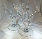 Heisey Gothic 402 Crystal Pair 11 Tall 2-light Candelabra Candleholders
