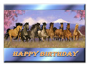 C153 Large Personalised Birthday Card Custom Made For Any Name Horses Mustang