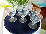 Set Of 6 Libbey Rock Sharpe Starglow Champagne Glasses Small C 1940's