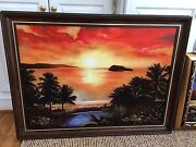 And039hawaii Sunsetand039 - Oil Painting On Canvas With Imbedded Amber Stones