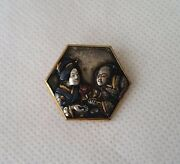 Antique Brooch Lover Couple Pin Japanese Shakudo Gold Silver Metal Meiji Era