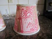 Pierre Deux Red Pink Taupe Versaille French Country Toile Lamp Shade Fleur Table