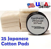 25 Pcs. Japanese Cotton - 30 Ft Kanthal 26 Gauge Awg A1 Round Wire Usa Seller