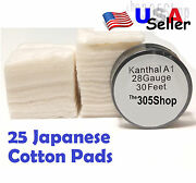 25 Pcs. Japanese Cotton - 30 Ft Kanthal 28 Gauge Awg A1 Round Wire Usa Seller