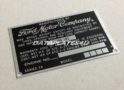 Data Plate F-4 Truck Ford Motor Company F-series Pick-up Tag Dataplate 1961-1966