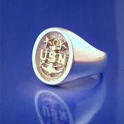 U. S. Navy Master Chief Petty Officer Ring - 14k Gold And Sterling Silver