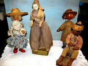 Lot Of 4 Vintage Wood Folk Art Dolls 1940's Assorted Makers And Countries