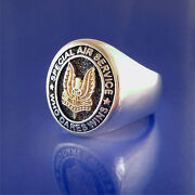 Sas Special Air Service Who Dares Wins Ring - 14k Gold And Sterling Silver