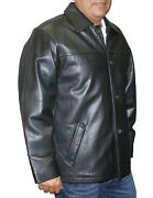 Menand039s Leather Jacket Cow Hide Buttons Closure Black Great Price Style Lk747