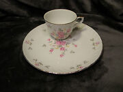 Vintage Lefton China Cup And Snack Plate Hand Painted Moss Rose -3171 Set Of 4