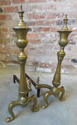 Vintage Pair Of Shapely Cast Brass Andirons W/ Cast Iron Log Rests 7