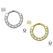 Septum Ring Clicker 10 Clear Paved 14kt Gold Cz Line 14g Sold Each