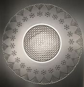 Large Pressed Glass Low Bowl With Rosette Fan Stippled And Cut Diamond Base