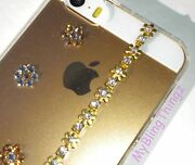 Gold Flowers Crystal Bling Clear Back Case For Iphone Se Or 5 5s W/