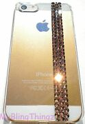 Rose Gold Crystal Bling On Clear Back Case For Iphone 5 5s W/ Elements