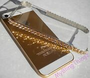 For Iphone 5 5s Gold Crystals Bling Hard Case Cover Bumper W/ Elements