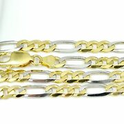 10k Yellow/white Gold Figaro Chain Necklace 24new 26.75g2500e