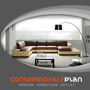 Contemporary Brown And Yellow Leather Sectional Sofa With Built In Light And Table