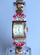Vintage Tressa Watch Diamond Ruby 14k Rose Gold Band 17j Serviced Cleanandsharp