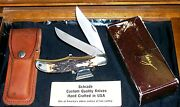 Schrade 227uh Knife Folding Bowie W/sheath Circa 1980's W/packaging,papers Rare