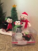 Hallmark Jingle Pals Animated Musical Penguins And Snowman+penguin Candle Holder